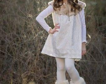 Dakota Dress PDF Sewing Pattern, including sizes 12 months-12 years, Girls Sewing Pattern, Faux Fur