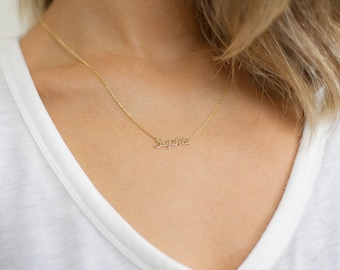 Tiny Name Necklace -Gold Name Necklace- Custom Name Plate Necklace - Personalized Bridesmaids Necklace-Bridesmaid Gift -Personalized Jewelry