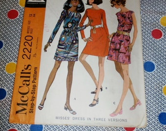 "1960s Vintage McCalls Pattern 2220 for Misses Dress Size 12 Bust 34"", Waist 25 1/2"" Hip 36"""