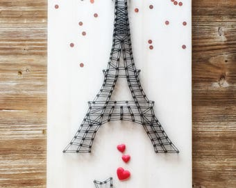 Eiffel Tower wall decor, Paris in string art, Original gift idea for wedding