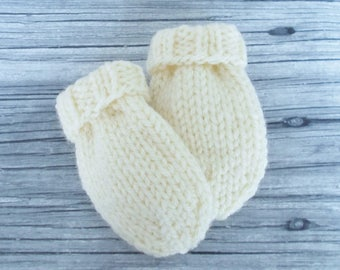 Ivory Cream Baby Mittens, Hand Knit No Thumb Mittens Size 3 to 6 Months, Infant Hand Warmers, Warm Winter Clothing Boy Girl Shower Gift, New