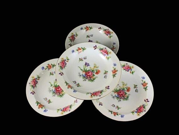 Rim Soup Bowls, Sango China, Occupied Japan, Floradel, Floral Pattern, Multi-floral, Gold Trim, Set of 4