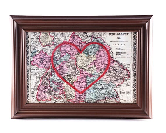 Germany Hand Embroidered Heart Map