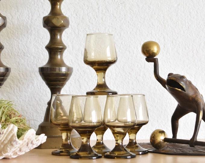 mid century modern smoky brown shot glasses / cocktail tumbler set of 6