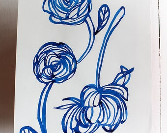 Original Watercolor artwork Inky Blue Rose watercolour original
