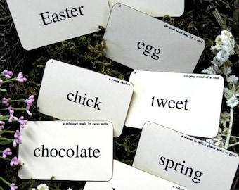 Easter spring Flash Cards - PDF vintage altered scrapbooking digital uprint primitive paper old bunny
