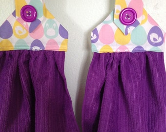 Easter fabric top Kitchen towels set of 2, purple microfiber towels with a purple button over velcro closure