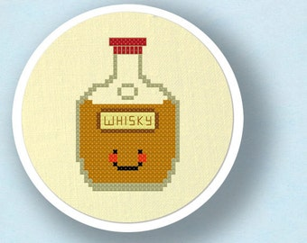 Happy Whisky Bottle Cross Stitch Pattern, Modern Simple Cute Whiskey Counted Cross Stitch Pattern PDF File. Instant Download
