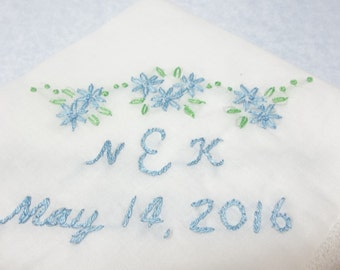 wedding handkerchief, something blue, hand embroidered, personalized initials, brides gift, bridal hankie, honeycomb hanky, bouquet wrap