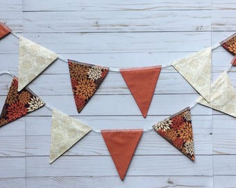 Autumn Fabric Bunting • Fall Fabric Bunting • Thanksgiving Banner • Fall Color Home Decor • Fall Floral Fabric Bunting • Orange Brown Floral