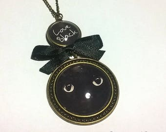 large collar necklace Cabochon •LOVE BLACK•
