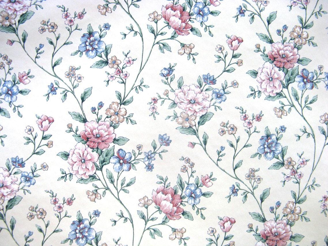 Vintage 80s Sunworthy Vinyl Rose Blue Floral Vine Paper Wallpaper