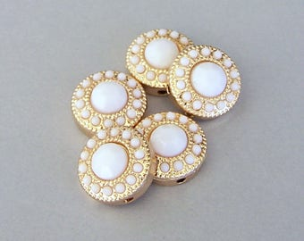 4 TINY white and gold 2 hole beads, small round white two hole slider beads or 2 hole buttons, spacers, 13mm