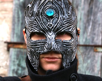 MADE TO ORDER - silver leather Mask Fantasy Larp Pagan costume wicca mardi gras burning man renaissance faire antique turquoise gem