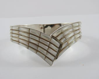 Sterling Silver Handmade Mother-Of-Pearl Cuff Style Bracelet