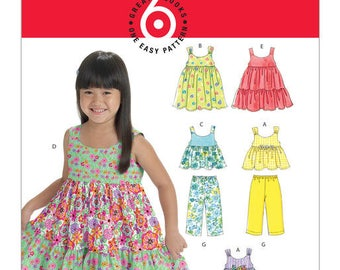 M6017 Toddlers'/Children's Gathered Tops, Dresses, Shorts and Pants