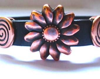 Copper Sunflower And Copper Swirls On A Black Leather Bracelet