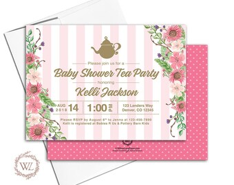 Tea Party Baby Shower Invitation, Pink and Gold Floral Baby Shower Invite, Printable or Printed - WLP00713