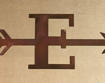 Monogrammed Arrow Metal Sign