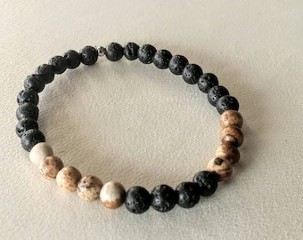 Bracelet with lava stones and Jasper beads