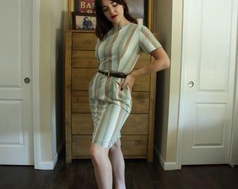 1950's Carol Brent Brown, Aqua and Beige Striped Cotton Day Dress