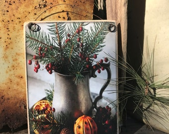 Primitive Picture Plaque/ Art Adhered To Wood And Ready To Display/ Wood Backing Primitive Print With Winter Pines and Berries