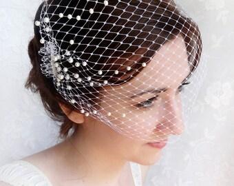 birdcage veil with pearls, wedding bandeau veil, small birdcage veil, wedding veil - OCEAN MIST - white ivory beige hair accessory