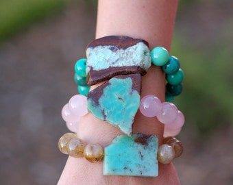 Chrysoprase Bracelet | Raw Gemstone Bracelet | 24K Gold Vermeil | Bohemian Bracelet | Stack Bracelet