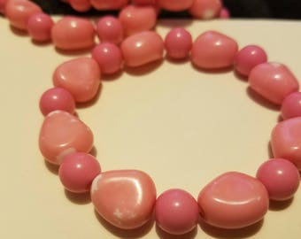 Pink and white Glass bead Bracelet