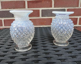 Set of 2 Antique Moonstone Hobnail Opalescent White and Clear Glass Candlestick Holders