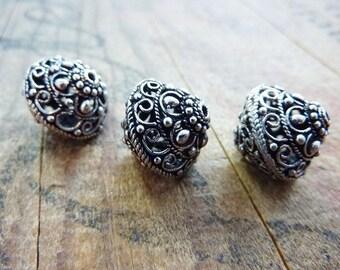 Silver Filigree Beads ornate Bicone Bead Filigree Bicone (2) IS423