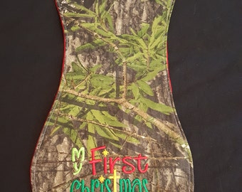 My First Christmas Camouflage Baby Burp Cloth