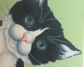 "black and white cat painting ""Missed"""