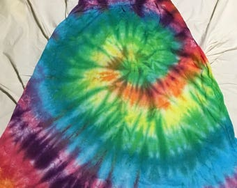 Spiral rainbow tie dye dress