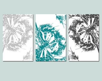Dandelion Wall Art Dandelion Decor Dandelion Art Dandelion Print Set of 3 Dandelion Prints Floral Wall Art Modern - CHOOSE YOUR COLORS