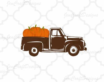 Antique Fall Pumpkins Truck SVG Autumn Vintage truck SVG classic truck svg cut File, DXF, eps, png for Silhouette, Cricut Digital Cut Files