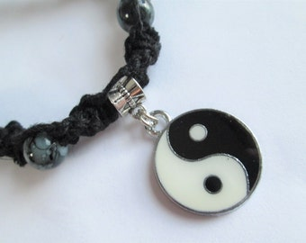 Yin Yang Pendant on Handmade White (or Black) Hemp Necklace with Black Glass Beads - Boho Chic Jewelry