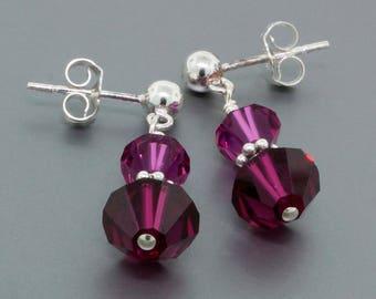 Sterling Silver Swarovski Crystal Dangle Earrings • Purple Crystal Earrings Gift for Her • Crystal Jewelry Gift for Women