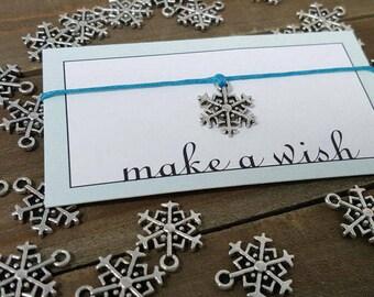 Snowflake Bracelet, Snowflake Jewelry, Winter Bracelet, Winter Jewelry, Snowflake Wish Bracelet, Snowflake Friendship Bracelet, Gift for her