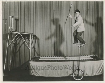 Amazing unicycle bicycle circus act vintage photo