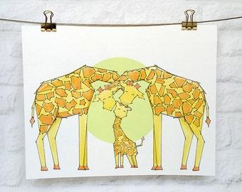 Giraffe Nursery Print - Giraffe Kiss Illustration - 5x7 and 8x10