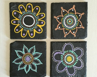 Set of 4 Bohemian Mandala Painted Slate Coasters with Flowers/Floral Design, Kitchen and Dining, Painted Coasters, Housewarming Gift