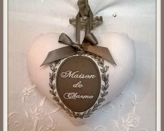 Lovely embroidered white heart