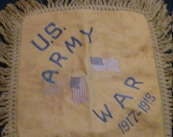 Spring Sale Vintage WW1 US Army Pillow Case Cover