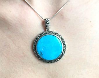 Boho Turquoise Necklace - Boho Jewelry - Bohemian Turquoise Necklace - Vintage Pendant Necklace - Boho Turquoise Pendant - Gypsy Necklace