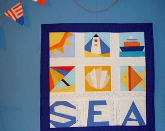 Summer seaside  Paper pieced Pattern quilt blocks sea wall hanging INSTANT DOWNLOAD PDF