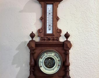 Antique Victorian Barometer / Thermometer 1800's Carved Wood Working Condition Porcelain Thermometer Back
