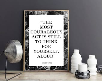 Coco Chanel, The Most Courageous Act, Homeware Wall Art Print