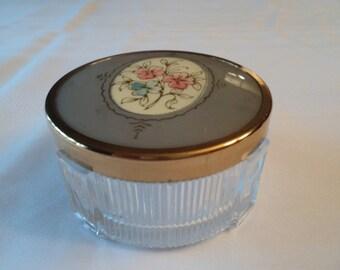 Vintage Powder Jar Art Deco Vanity Dresser Trinket Jar