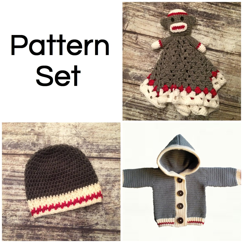 Crochet Pattern Set. Monkey Lovey Blanket. Work Sock Hat. Work Sock ...